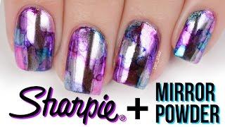 Sharpie + Mirror Powder! Chrome Watercolor Nail Art