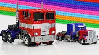 Transformers Optimus Prime, Lockdown Movie Animation Robot Truck Lego Bank Robbery & Car for kids