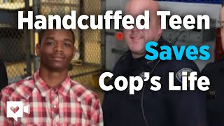 See handcuffed teen save cop