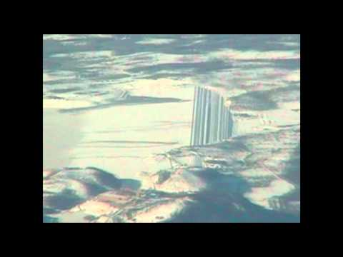 Very strange structure in mountains filmed from plane.