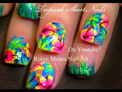 HOT Neon PINK Flower Nails! Tropical Plumeria Nail Art Design tutorial