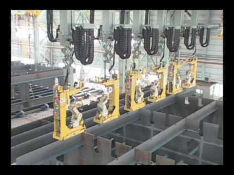 Arc Welding Ship Assemblies with several Kawasaki Robots