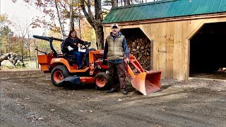 Finishing the grade on the GRAVEL driveway using a SUB Compact Kubota Tractor