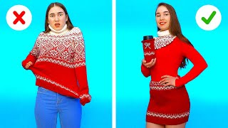 SUPER COOL WINTER CLOTHES LIFE HACKS AND CRAFTS || 8 winter outfit ideas