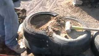 Earthship Construction, Packing a tire