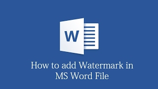 How to insert WaterMark in MS Word Document