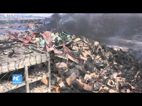 Drone footage shows aftermath of Tianjin explosions
