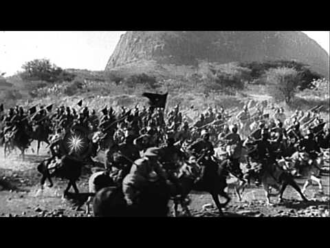 Italian Armed Forces invade Ethiopia from Eritrea. HD Stock Footage