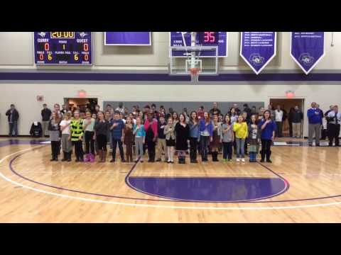 Thacher Montessori School Students Sing the National Anthem at Curry College - 01/31/2014