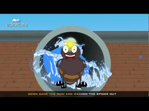 Edewcate english rhymes – Incy Wincy Spider (eensy weensy spider) went up the water spout nursery rhyme
