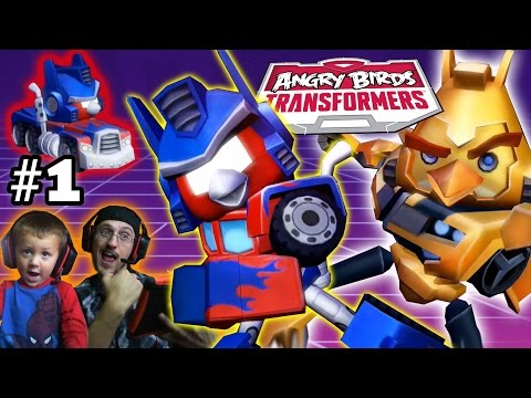 Lets Play Angry Birds Transformers Part 1: Free Bumblebee! (Dad & Chase Gameplay Commentary)