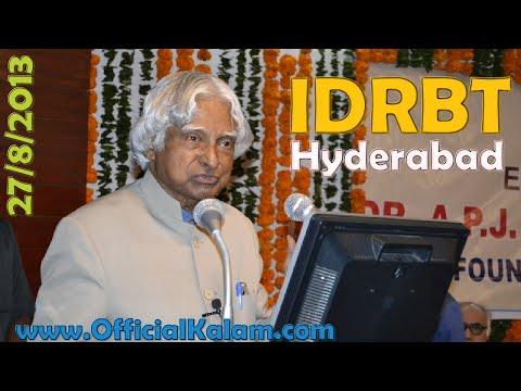 Dr. A.p.j. Abdul Kalam At  Idbrt Hyderabad 27th August 2013 video
