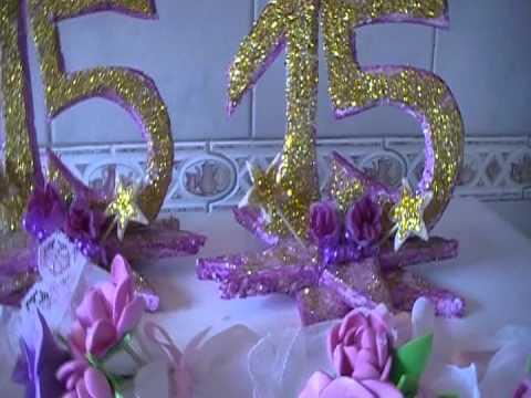 Souvenirs de 15 años y adornos de mesa - YouTube