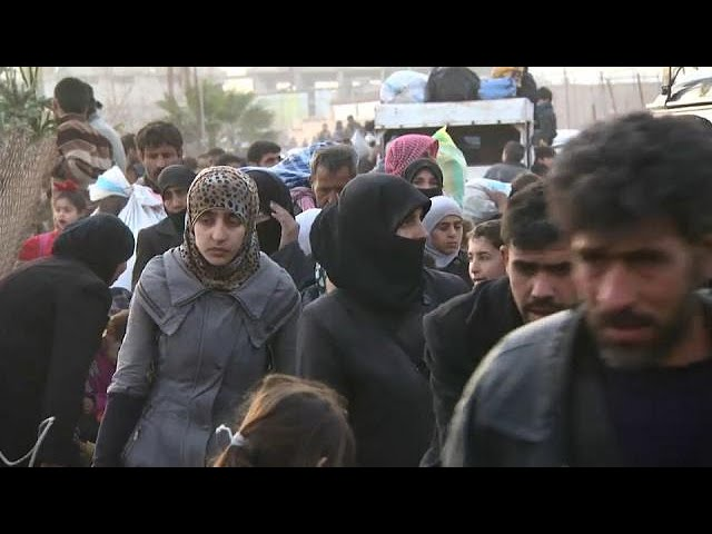 Thousands flee last rebel enclave near Syrian capital Damascus