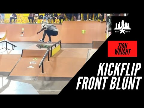 ZION WRIGHT KICK FLIP FRONT BLUNT SLIDE WHAT TAMPA PRO 2021 PRACTICE IS REALLY LIKE BTS