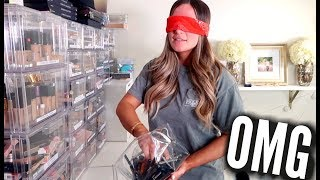 PICKING A FULL FACE OF MAKEUP... BLINDFOLDED | Casey Holmes