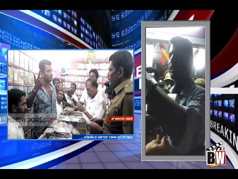 Vishal raids DVD shop selling pirated DVDs of Kaththi and Poojai - BW