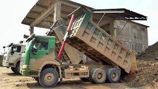 Bé xem xe ô tô tải ben đổ đất đá | Nhạc thiếu nhi : Bống bống bang bang | Tientube TV