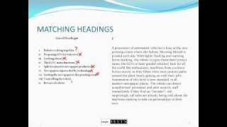 IELTS Reading - Matching Headings