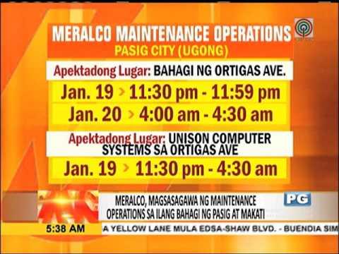 Meralco, may maintenance ops sa Pasig, Makati
