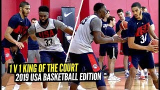 USA Basketball Players Go 1 V 1 King Of The Court! Jayson Tatum, DeAaron Fox, Jaylen Brown & Bam!!