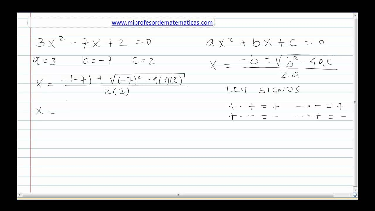Ecuacion de Segundo Grado - Algebra General - Mi Profesor de ...
