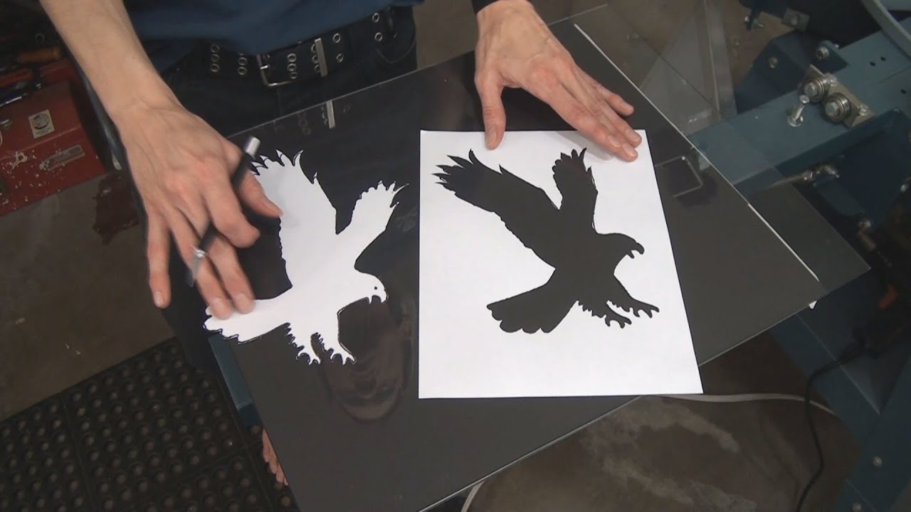 how to screen print t shirts using hand cut paper stencils youtube. Black Bedroom Furniture Sets. Home Design Ideas