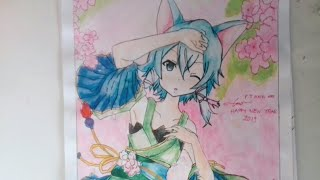 Konno - san || Happy New Year 2019 . tranh vẽ anime /Asada Shino. Drawing Asada Shino /sinon/anime