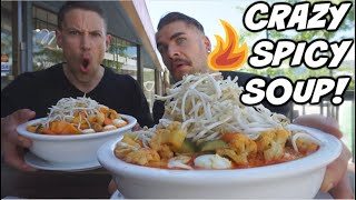 SPICY ASIAN SOUP CHALLENGE! Spicy Food Challenge!  7lb Hot Laksa Soup! Man Vs Food