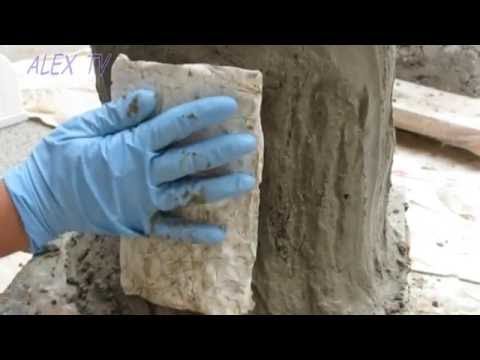 Deko aus Beton im Garten . Baumstamm selber machen