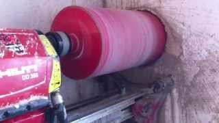 CORE DRILLING IN  REINFORCED CONCRETE 200mm Kernbohrung  202mm Beton Hilti DD350