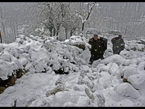 Heavy snow in srinagar looking beautiful