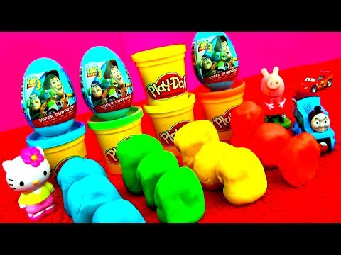 Toy Story Surprise Eggs Play-doh Shrek Spongebob Disney Princess Disney Cars Smurfs Angry Birds Toys video