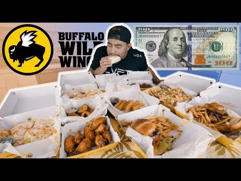 $100 WORTH OF BUFFALO WILD WINGS TAKE OUT VS MAN