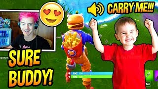 NINJA PLAYS FORTNITE WITH THE CUTEST KID EVER! *ADORABLE* Fortnite FUNNY & ADORABLE Moments