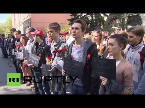 Russia: Witnesses join Odessa massacre tribute outside Ukrainian embassy