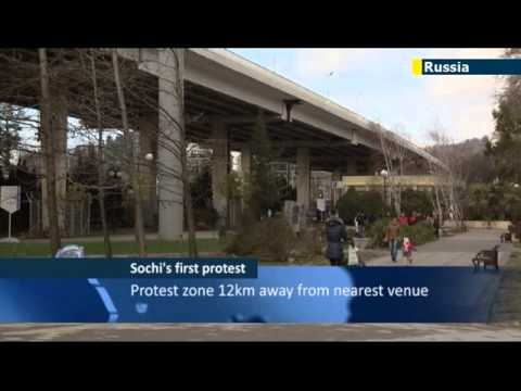 First demonstration held at Sochi Olympics protest zone - but protesters complain about location
