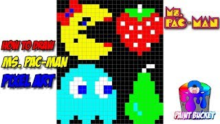 How to Draw Ms. Pac-Man - Namco's Pac-Man Pixel Art Drawing