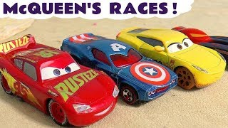 Cars Lightning McQueen races Hot Wheels Avengers and Superheroes with funny Funlings TT4U