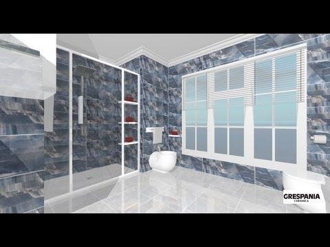 Dise o de cuarto de ba o moderno en azul y blanco youtube - Banos en azul y blanco ...