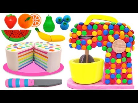 Squishy Rainbow Cake and Candy Mixer Playset for Children Learn Colors