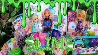 Elsa and Anna toddlers at the slime shop