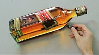 "Time Lapse: Whisky Red Label ""Bottle"" - hyper-realistic art ""Fabiano Millani"""