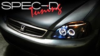 SPECDTUNING INSTALLATION VIDEO: 1999-2000 HONDA CIVIC PROJECTOR HEAD LIGHTS