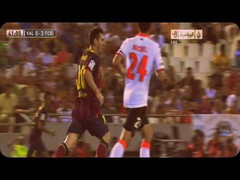 Valencia vs Barcelona 2-3 All Goals Highlights 01/09/2013 LIONEL MESSI Hat-Trick