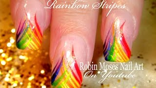 Easy Rainbow Stripe Nail Art Design Tutorial