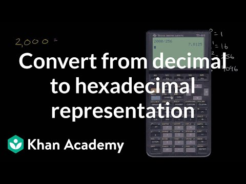 Converting from decimal to hexadecimal representation