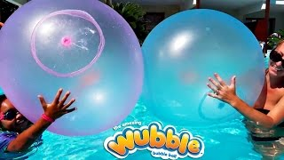 Giant Wubble Bubble Balloons In Our Pool - Family Fun
