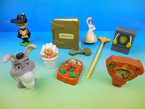 2004 SHREK 2 SET OF 8 BURGER KING KIDS MEAL MOVIE TOYS VIDEO REVIEW by FASTFOODTOYREVIEWS