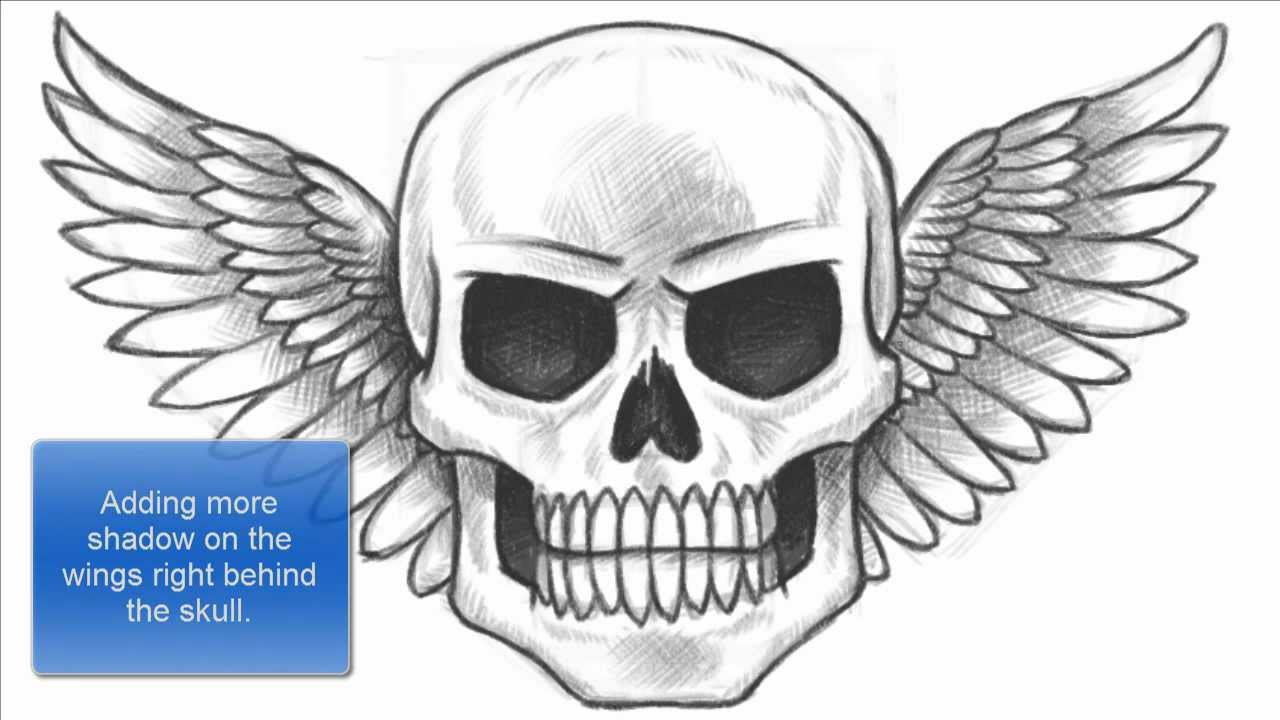How to Draw a Skull with Wings  Skulls And Wings Drawings